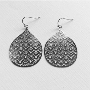 Silver Laser Cut Out Pattern Earrings